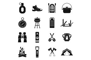 Recreation tourism icons set, simple