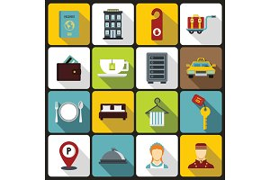 Hotel icons set in flat style