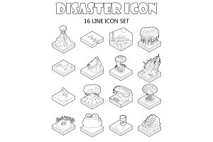 Disaster icons set, outline style