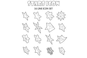 Star icons set in outline style