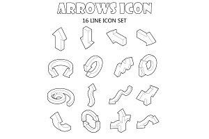 Arrow icons set, cartoon style