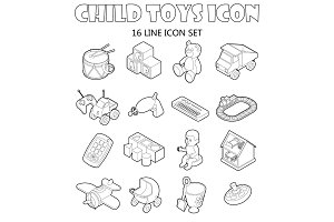 Child toys icons set, outline style