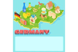 Germany map, cartoon style