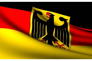 Flying Flag of Germany . All