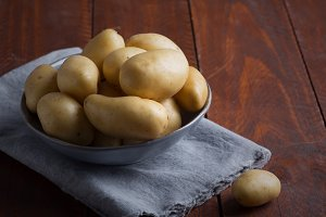 Pile of raw potatoes in the bowl on