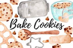 Watercolor Cookies Clipart Set