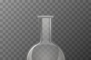 Round transparent chemical flask