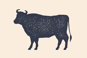 Cow, silhouette. Vintage logo, retro