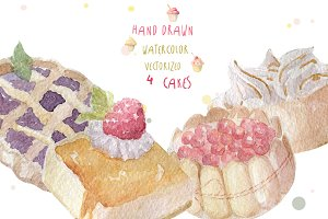 Watercolor cakes set