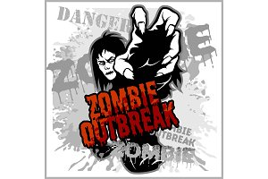 Poster Zombie Outbreak. Sign board