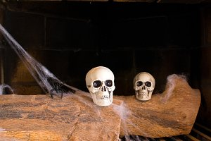 skulls in fireplace