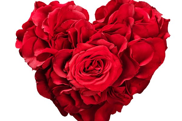 Red roses in heart shape isolated o…