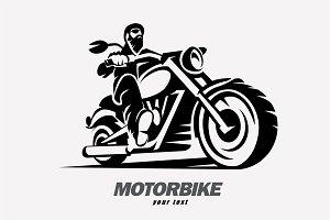 Motorbike and biker logo template