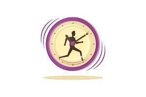 Time Management Clock and Man Vector
