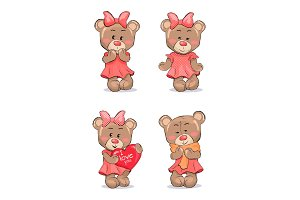 Cute Female Bear in Pink Dress with