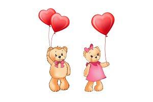 Teddy Bear Couple and Balloons