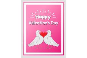 Happy Valentine Day Poster Doves