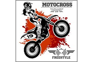 Female Motocross Vector Design