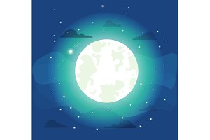 Bright Moon with Small Stars Vector