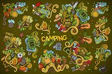Set of Camping Doodles Elements