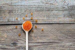 Scoop of red caviar
