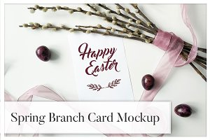 Spring Branch & Ribbon Card Mockup