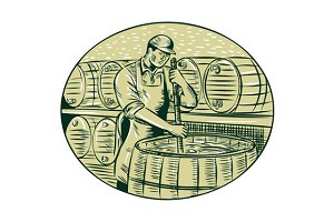 Brewer Brewing Beer Etching