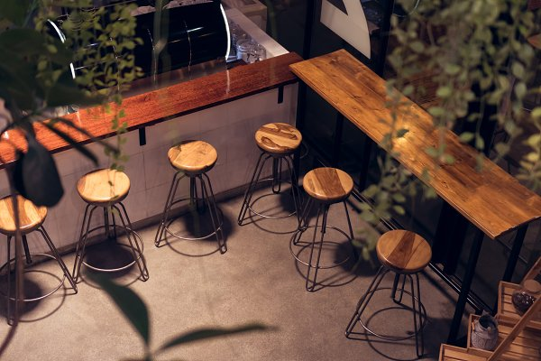Business Images - Cafe shop chair at night, High shape