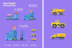 Factory set. Flat infographic