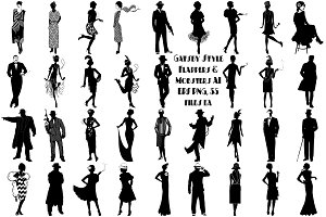 Gatsby Flappers/Mobsters AI EPS PNG