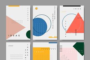Set of minimal Memphis design poster