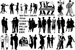 Gatsby Style Jazz Couples AI EPS PNG