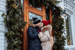 Lovers on the street in winter