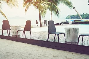 swimming pool chair on the resort cl