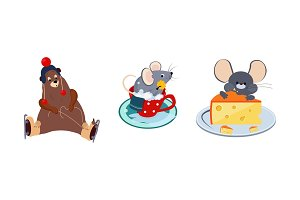 Cute funny animals characters in