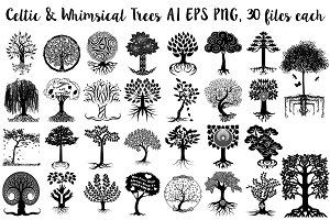 Celtic & Whimsical Trees AI EPS PNG