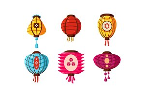 Colorful Chinese paper lanterns set