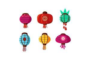 Colorful Chinese lanterns set