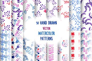 50 Watercolor Floral Patterns