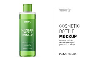 Transparent cosmetic bottle mockup