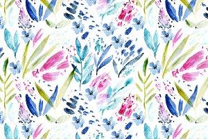 Watercolor bloom, seamless pattern
