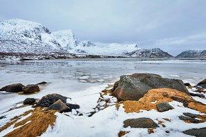 Norwegian fjord in winter