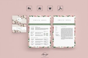 Roses Floral Resume / Card Template