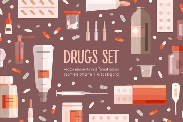 Illustrations: Good_Studio - Medicine set and seamless