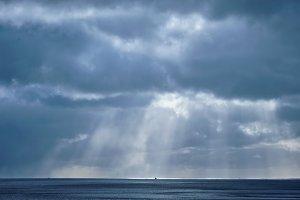 Norwegian sea in winter with sun