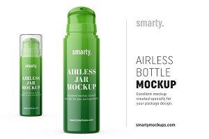 Plastic airless bottle mockup
