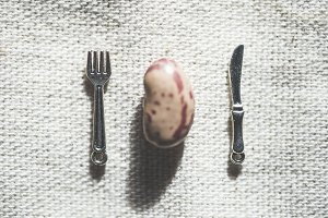 One bean, fork and spoon miniatures