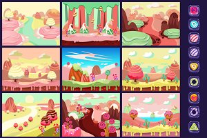 Candy land sweet background for game