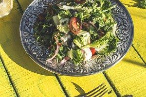 Green salad with arugula, Little Gem