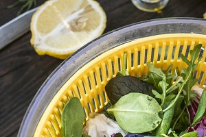 Spring green salad of baby spinach,